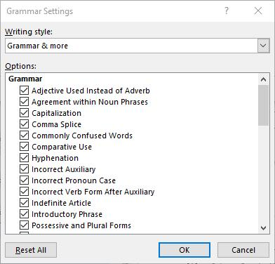 window showing spelling and grammar in Word